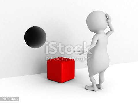 istock white 3d man confused of cube and wrong hole 531184577
