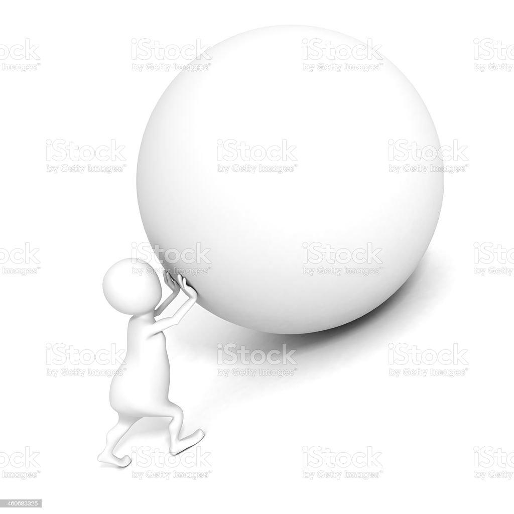white 3d man push up heavy sphere. Sisyphus concept stock photo