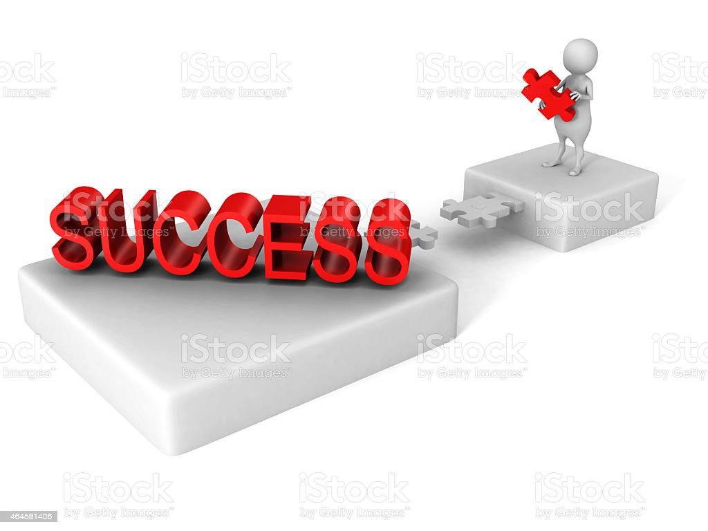 white 3d man puzzle bridge to SUCCESS red word - Royalty-free 2015 Stock Photo