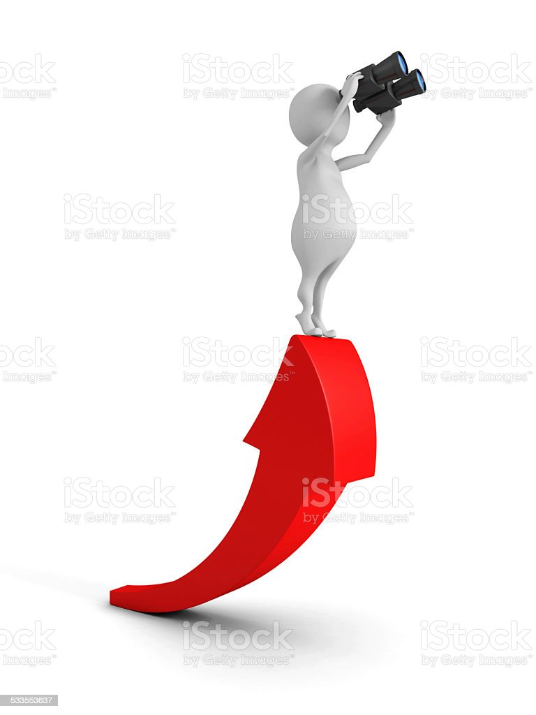 white 3d man with binocular on growing red arrow stock photo