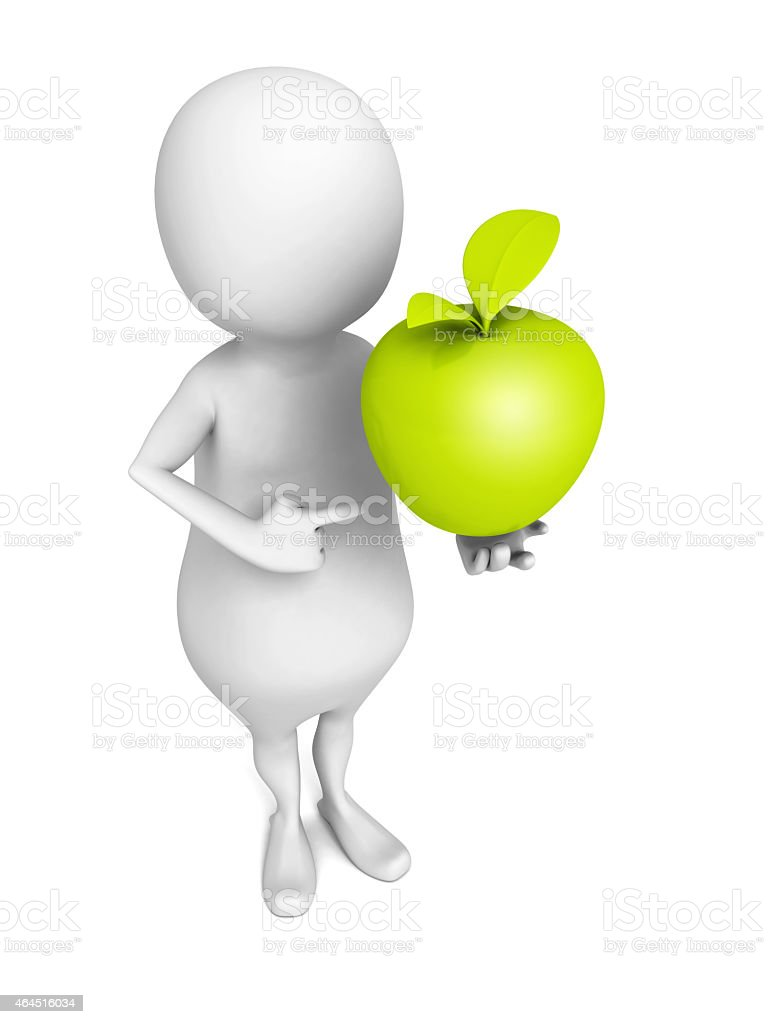 white 3d man with green fresh apple stock photo