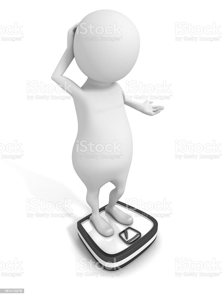 white 3D man with overweight on a scales stock photo
