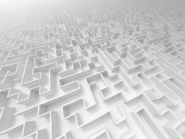 white 3D Maze perspektive with fog and DOF a view on a maze in a foggy enviroment perspektive stock pictures, royalty-free photos & images