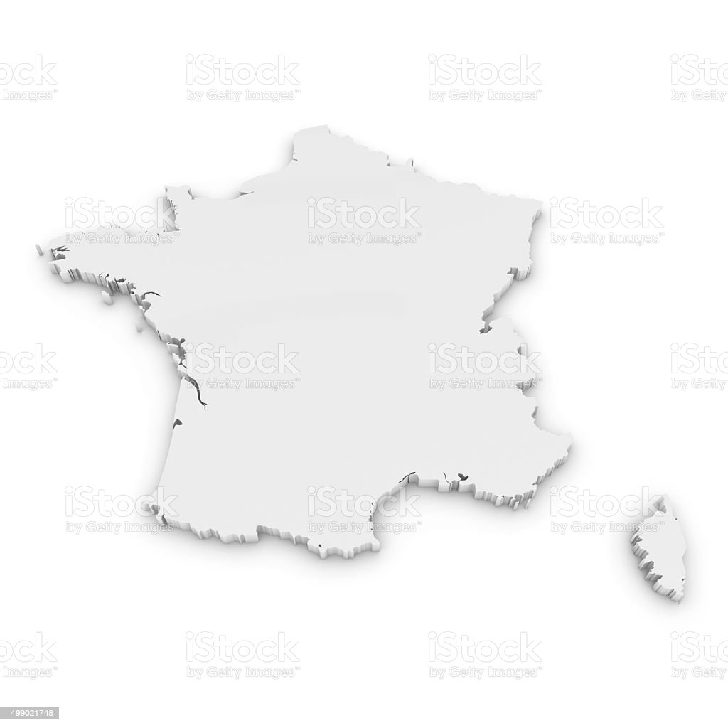 White 3D Outline of France Isolated on White stock photo
