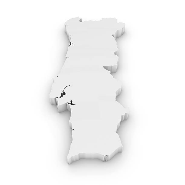 branco 3d esboço de portugal, isolado a branco - portugal map imagens e fotografias de stock