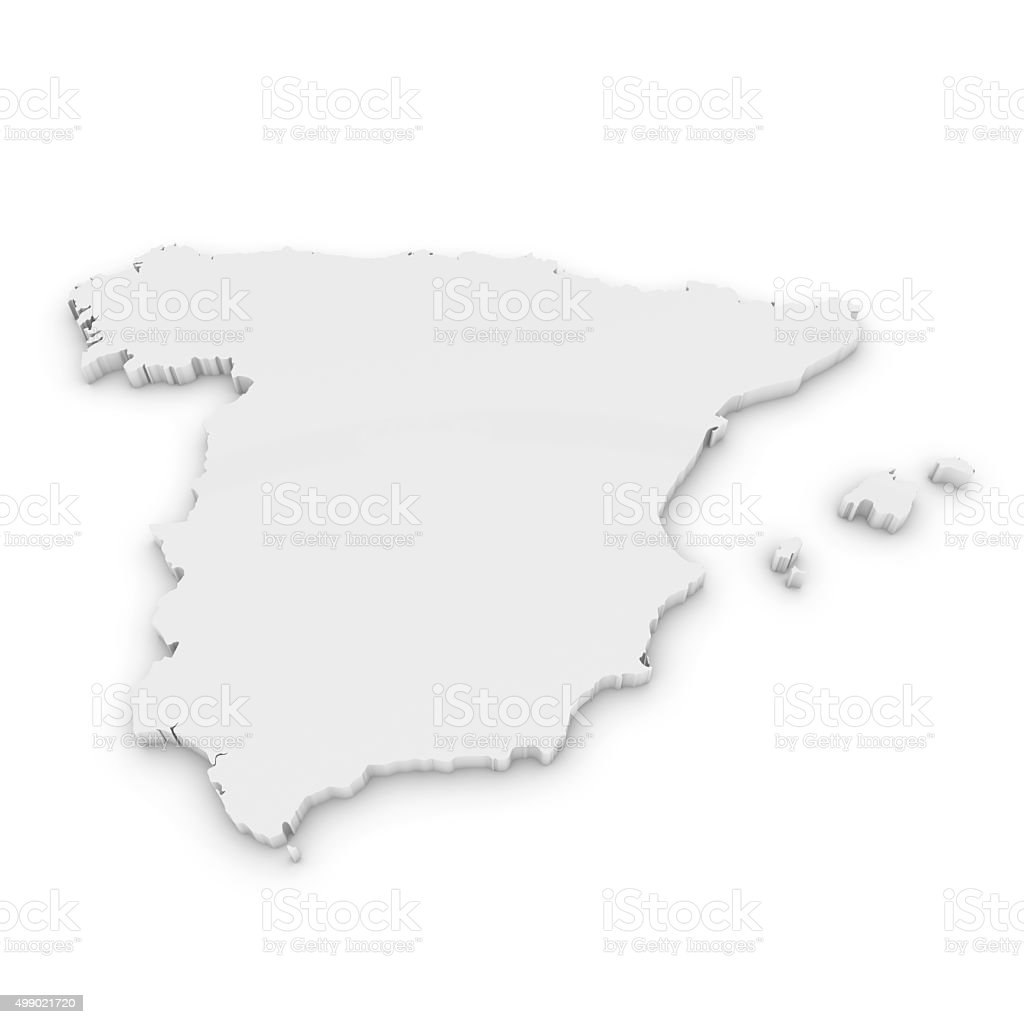 White 3D Outline of Spain Isolated on White stock photo