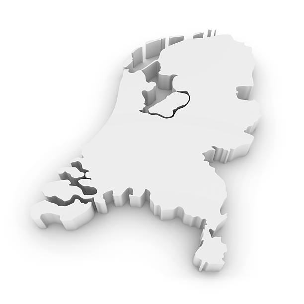 White 3D Outline of the Netherlands Isolated on White stock photo