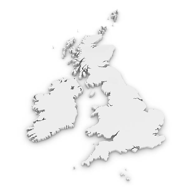 White 3D Outline of the United Kingdom and Ireland Isolated White 3D Outline of the United Kingdom and Ireland Isolated on White uk map stock pictures, royalty-free photos & images