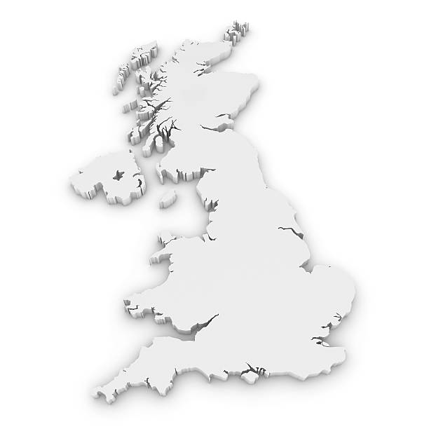 White 3D Outline of the United Kingdom Isolated on White White 3D Outline of the United Kingdom Isolated on White uk map stock pictures, royalty-free photos & images