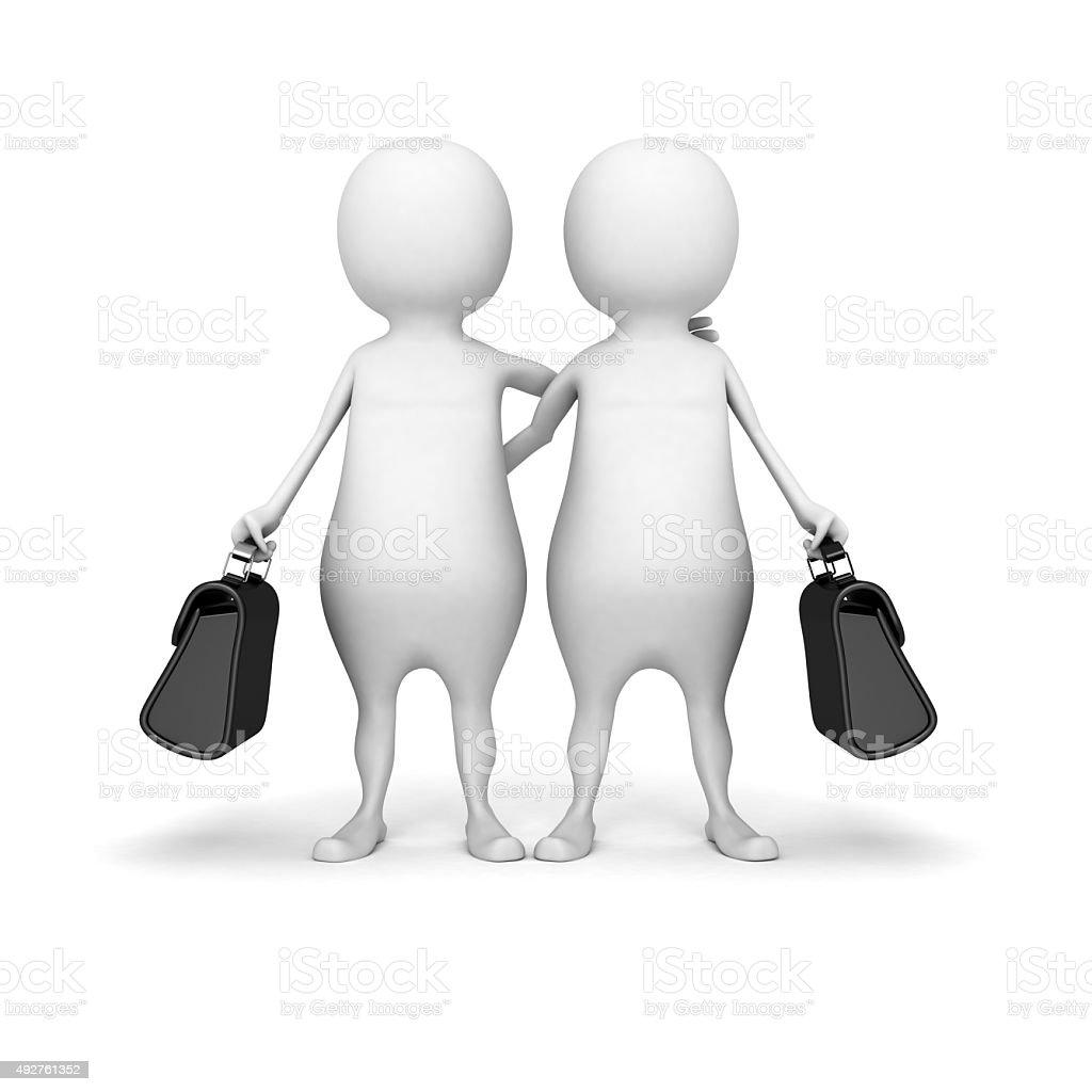 White 3d People Partnership Concept stock photo