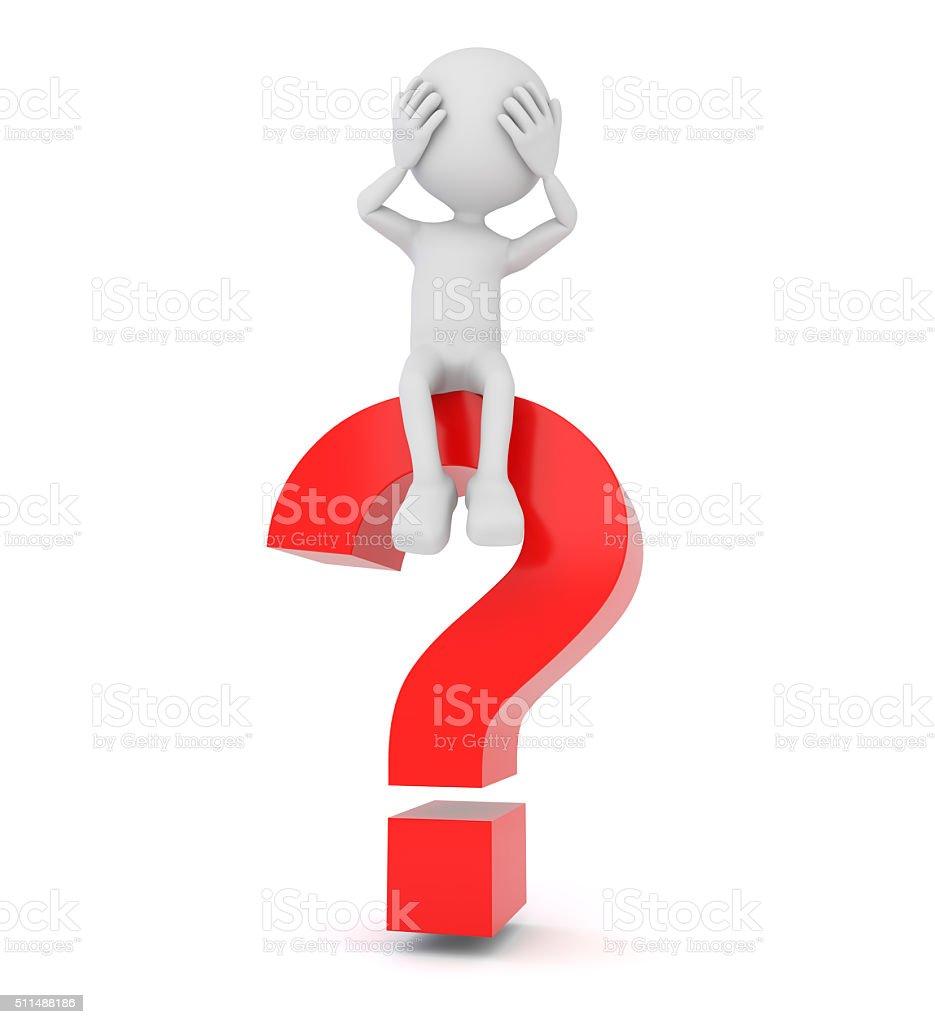 Blanco 3D persona tendido sobre un signo de interrogación - foto de stock