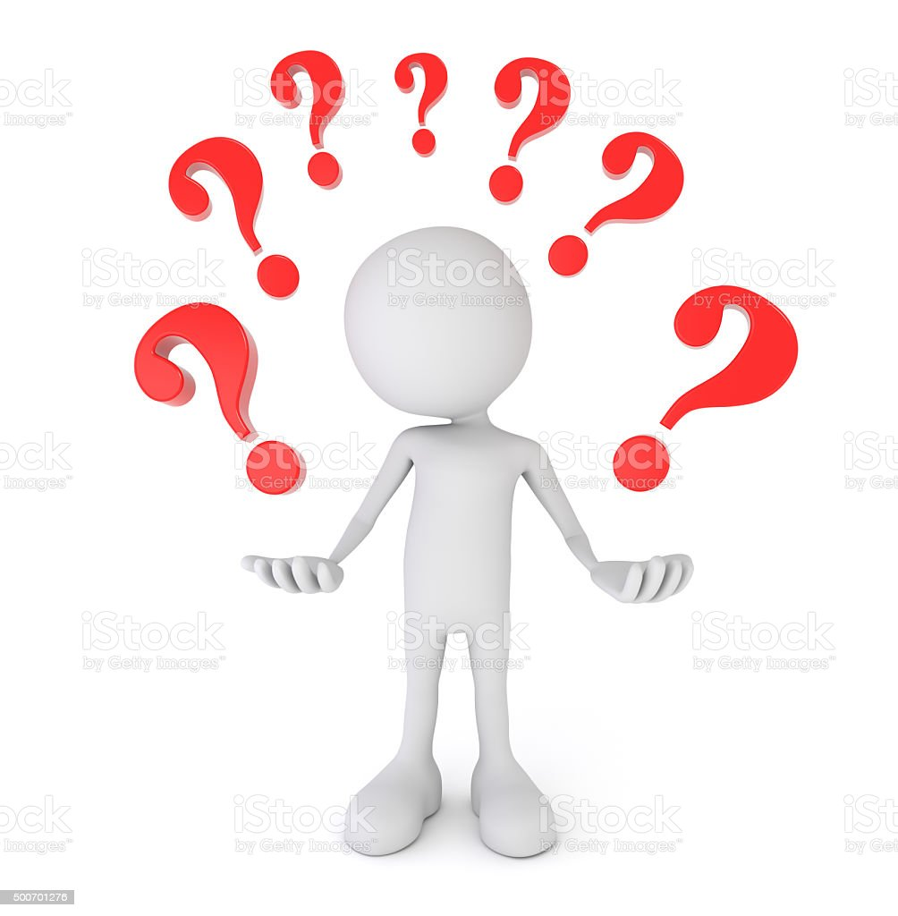 White 3d person surrounded by question marks stock photo