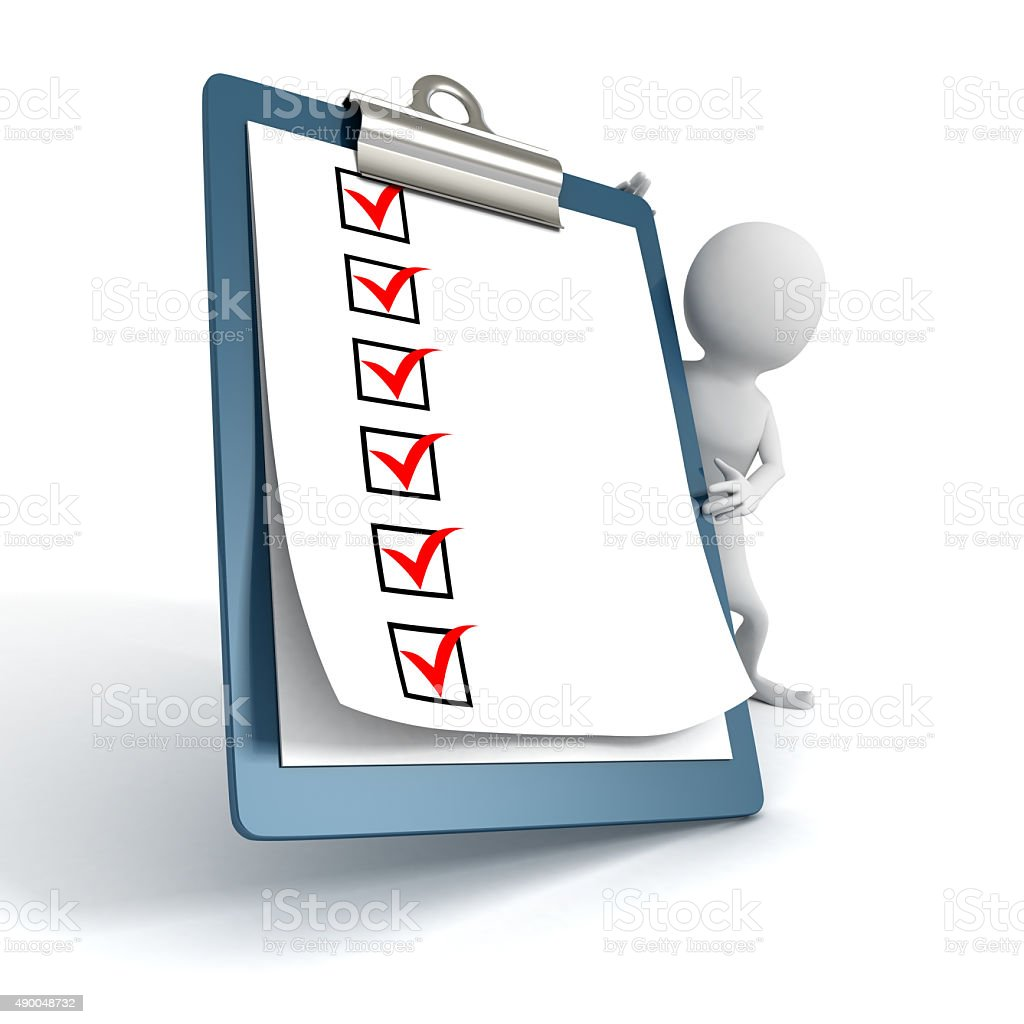 White 3d Person with a Clipboard Check ToDo List stock photo