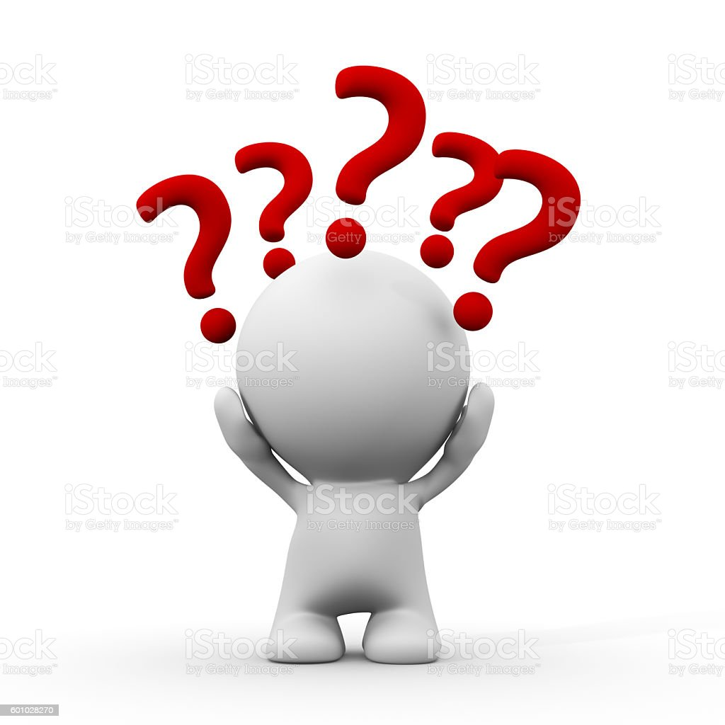 question stock image white 3d person with question marks around the head stock 5698