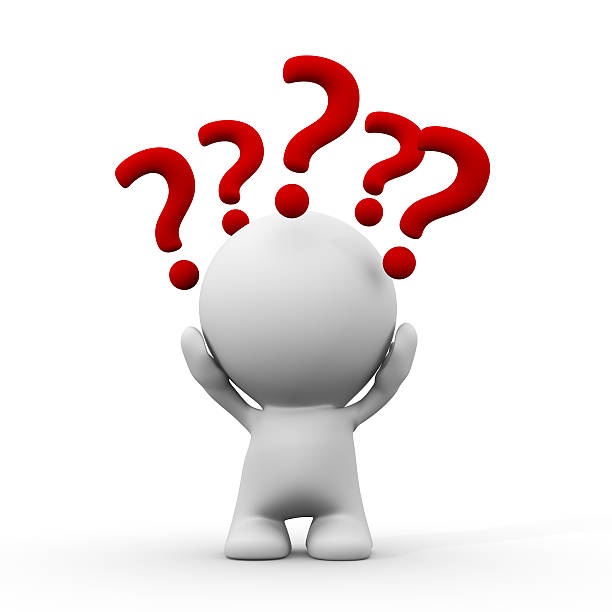white 3d person with question marks around the head stock photo