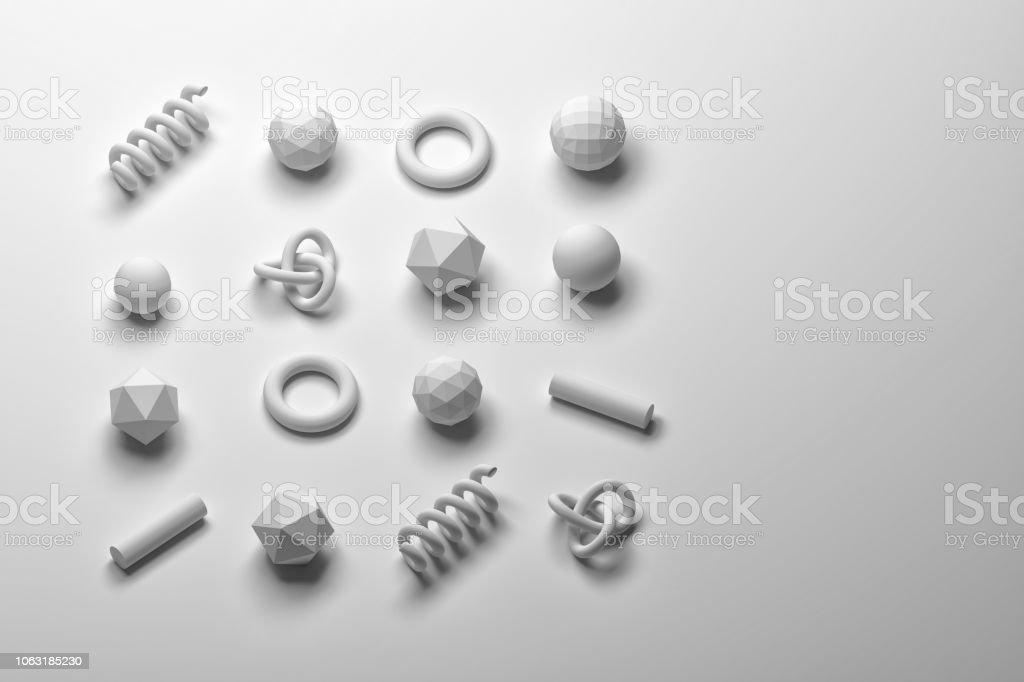 White 3d primitives on white background stock photo