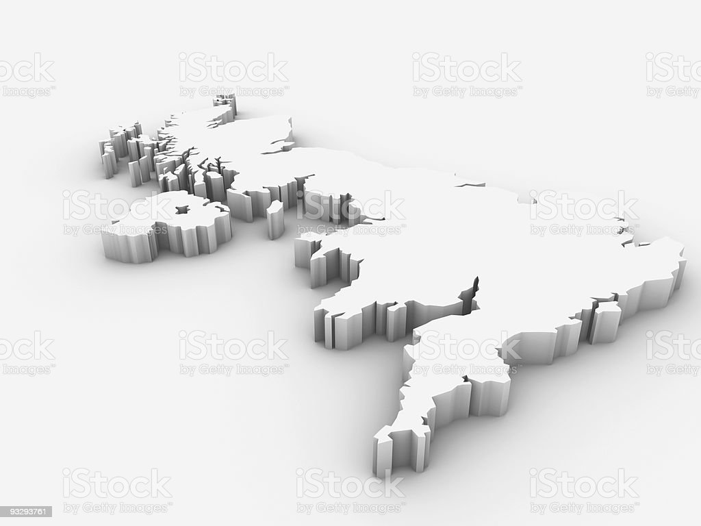 A white 3D rendered image of the United Kingom stock photo