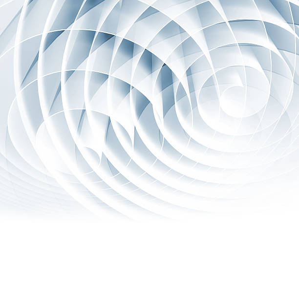 White 3d spirals with light blue shadows, abstract art stock photo