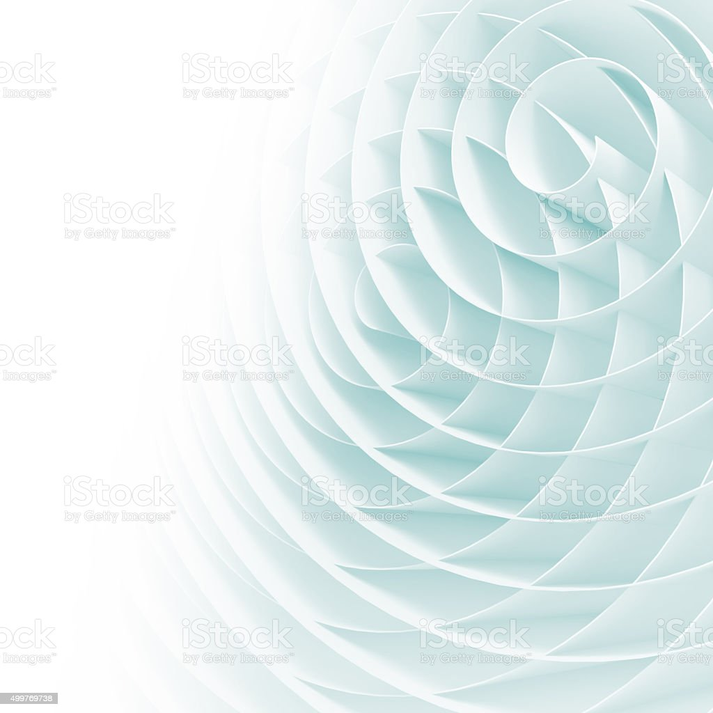 White 3d spirals with soft light blue shadows stock photo