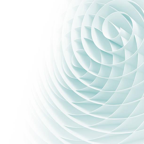 espirales blanco 3d con sombras suaves de azul claro - hélice forma geométrica fotografías e imágenes de stock