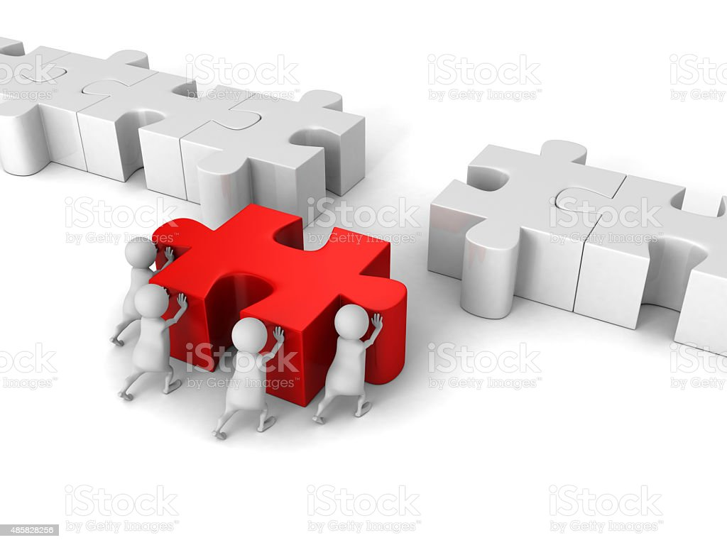White 3d Team Push Last Jigsaw Puzzle Peace stock photo