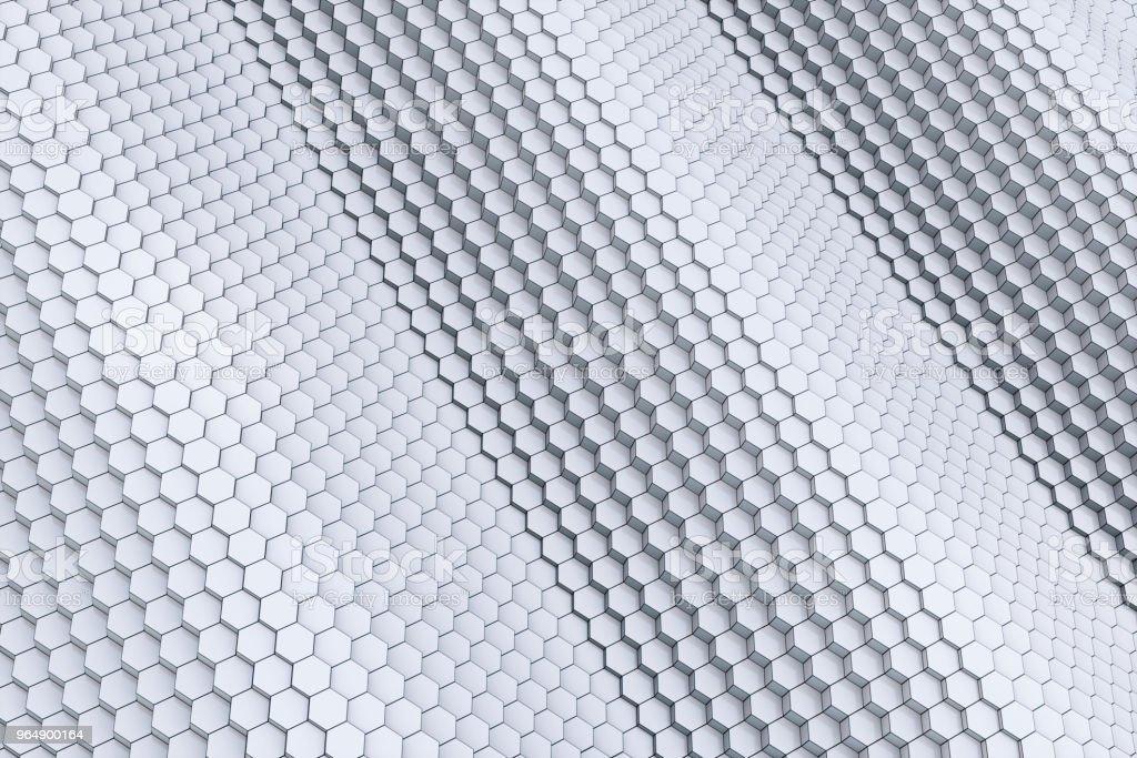 六角塊製作的白色3D 波浪輪廓 - 免版稅亂流圖庫照片