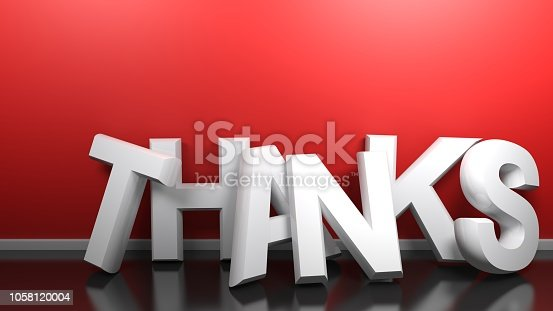 istock THANKS white 3D write at red wall - 3D rendering 1058120004