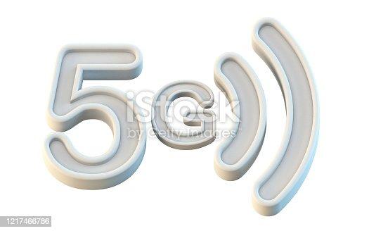 1152653473 istock photo White 5G icon 3D 1217466786