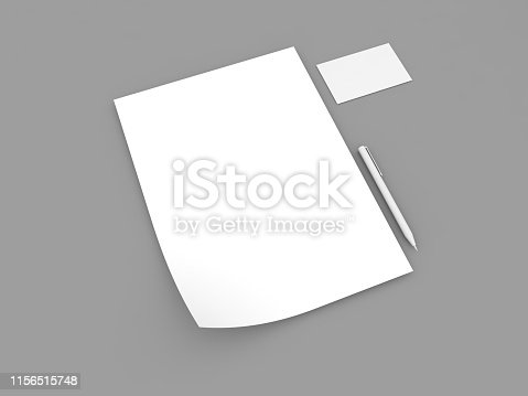 istock White A4 paper sheet business card and pen . 1156515748