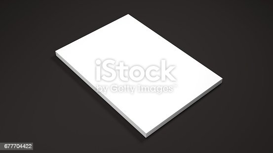 istock White A4 paper sheets on black background. High resolution 3d render. Personal branding mockup template. Soft shadow. 677704422