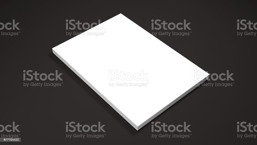 White A4 paper sheets on black background. High resolution 3d render. Personal branding mockup template. Soft shadow. stock photo