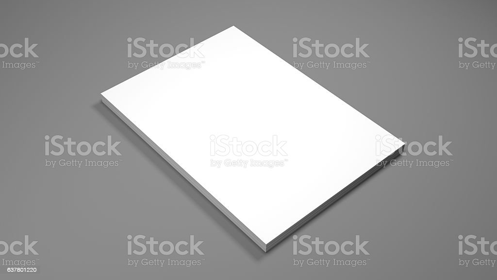 White A4 paper sheets on gray background. 3d render. – Foto
