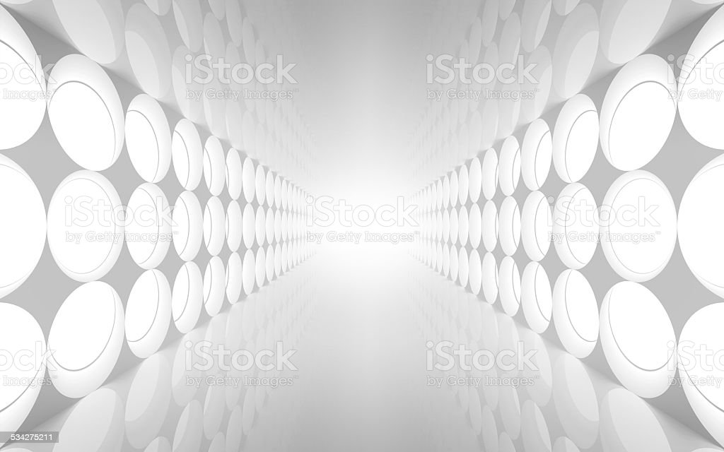 White abstract 3d interior with round decoration stock photo