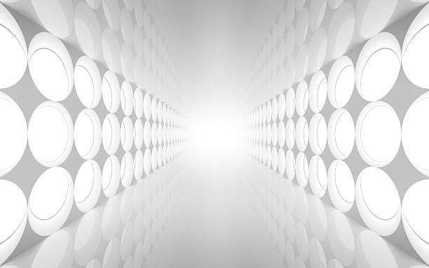 weißes abstrakte 3d interior mit runder dekoration - büro zukunft und niemand stock-fotos und bilder
