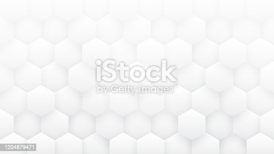 White Abstract Background High Technology 3D Hexagons. Sci-fi Hexagonal Blocks Structure Pattern Conceptual Minimalist Art Illustration. Light Clear Blank Wallpaper In Ultra High Definition Quality
