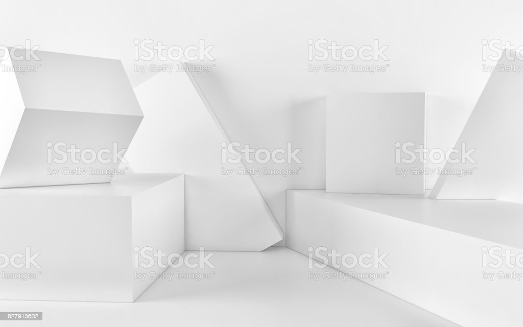 White Abstract geometric background from cubes. 3d render stock photo