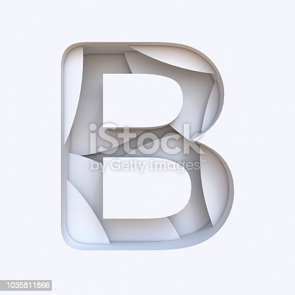 845304606 istock photo White abstract layers font Letter B 3D 1035811866
