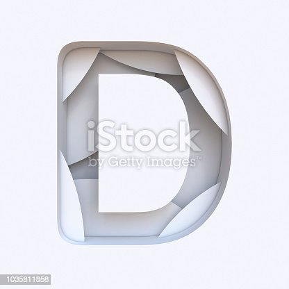583978154 istock photo White abstract layers font Letter D 3D 1035811858
