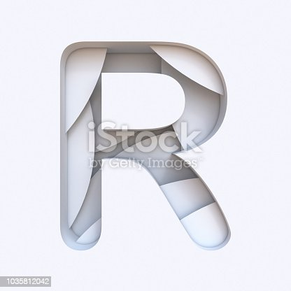 583978558istockphoto White abstract layers font Letter R 3D 1035812042