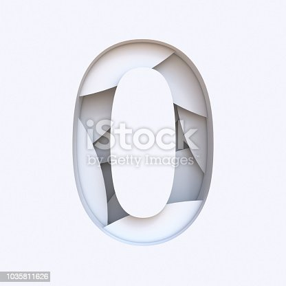 845307368 istock photo White abstract layers font Number 0 ZERO 3D 1035811626