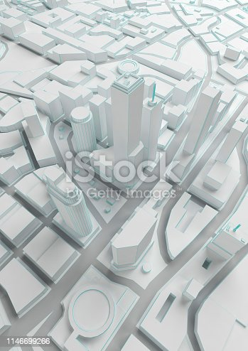 istock white abstract low poly city with blue lines 1146699266