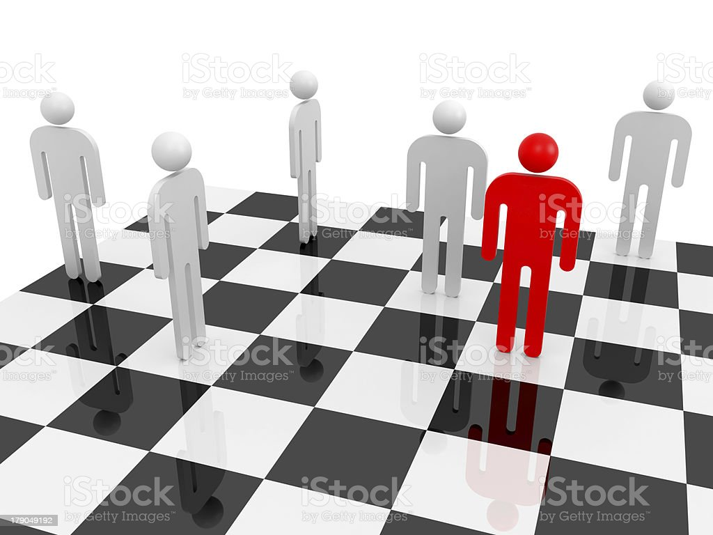 White abstract people with one red individual on a chessboard royalty-free stock photo