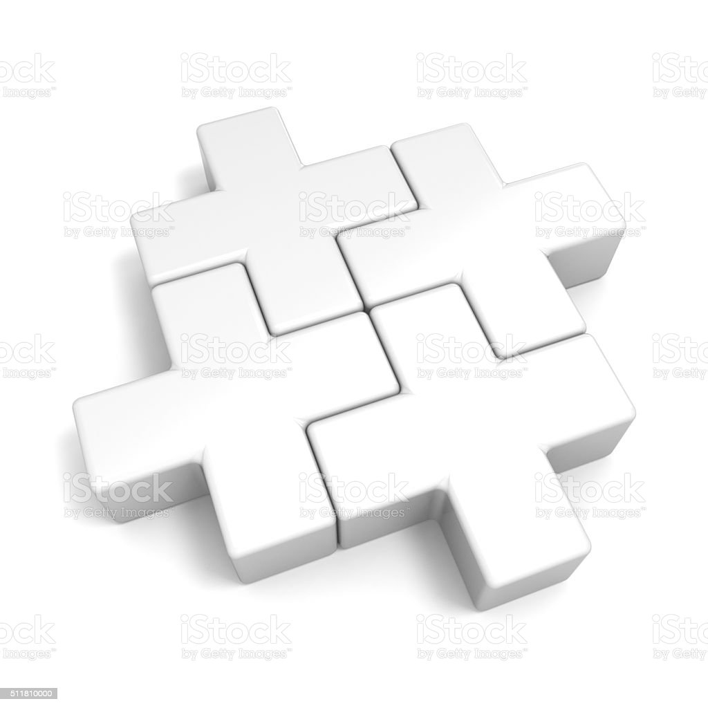 White abstract plus jigsaw puzzle pieces. 3D stock photo