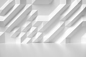 Abstract white room wall with futuristic bumpy geometric polygonal surface colorless 3d illustration