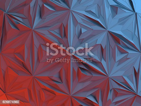 istock White abstract shape illuminated by red and blue light. Low 626874560
