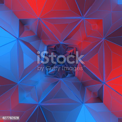 istock White abstract shape illuminated by red and blue light. Low 627762528