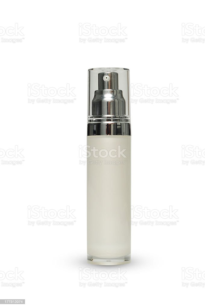 White acrylic bottle with clipping mask stock photo