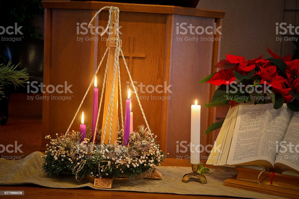 White Advent Candle stock photo