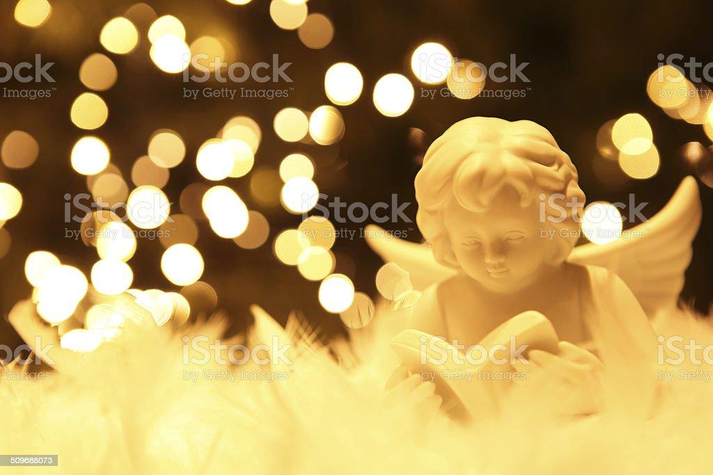 Weihnachtsbeleuchtung Engel.White Advent Weihnachten Engel Mit Weihnachtsbeleuchtung Im