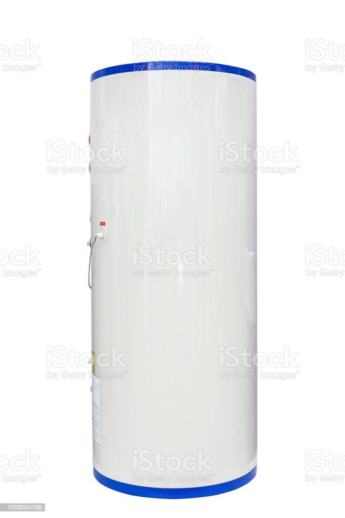 Weiße Quelle Wärmepumpe Wasser Lufterhitzer isoliert auf einem weißen Hintergrund. Einschließlich der Clipping-Pfad – Foto